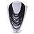Chunky Black Glass Bead Bib Multistrand Layered Necklace - 80cm L - view 2