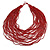 Chunky Ox Blood Red Glass Bead Bib Multistrand Layered Necklace - 80cm L