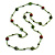 Statement Light Green Glass Bead with Brown/ Green Wood Ball Long Necklace - 145cm L
