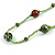 Statement Light Green Glass Bead with Brown/ Green Wood Ball Long Necklace - 145cm L - view 5