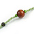 Statement Light Green Glass Bead with Brown/ Green Wood Ball Long Necklace - 145cm L - view 6