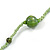 Statement Light Green Glass Bead with Brown/ Green Wood Ball Long Necklace - 145cm L - view 7
