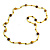 Statement Yellow Glass Bead with Brown Wood Ball Long Necklace - 145cm L - view 3