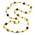 Statement Yellow Glass Bead with Brown Wood Ball Long Necklace - 145cm L