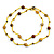 Statement Yellow Glass Bead with Brown Wood Ball Long Necklace - 145cm L - view 4