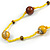 Statement Yellow Glass Bead with Brown Wood Ball Long Necklace - 145cm L - view 5