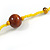 Statement Yellow Glass Bead with Brown Wood Ball Long Necklace - 145cm L - view 6