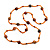 Statement Orange Glass Bead with Brown/ Orange Wood Ball Long Necklace - 145cm L