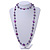 Long Glass and Shell Bead with Silver Tone Metal Wire Element Necklace In Purple - 120cm L - view 2