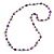 Long Glass and Shell Bead with Silver Tone Metal Wire Element Necklace In Purple - 120cm L - view 3