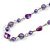 Long Glass and Shell Bead with Silver Tone Metal Wire Element Necklace In Purple - 120cm L - view 4