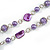 Long Glass and Shell Bead with Silver Tone Metal Wire Element Necklace In Purple - 120cm L - view 5