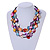 Multistrand Multicoloured Sea Shell and Black Glass Bead Necklace - 60cm Long - view 2