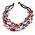 Multistrand Multicoloured Sea Shell and Black Glass Bead Necklace - 60cm Long - view 3