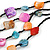Multistrand Multicoloured Sea Shell and Black Glass Bead Necklace - 60cm Long - view 5