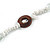 Long White Semiprecious Stone, Ceramic Bead, Brown Wood Ring Necklace - 102cm L - view 5