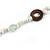 Long White Semiprecious Stone, Ceramic Bead, Brown Wood Ring Necklace - 102cm L - view 6