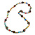 Long Multicoloured Semiprecious Stone, Ceramic Bead, Brown Wood Ring Necklace - 102cm L - view 3