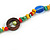 Long Multicoloured Semiprecious Stone, Ceramic Bead, Brown Wood Ring Necklace - 102cm L - view 5