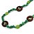 Long Forest Green Semiprecious Stone, Ceramic Bead, Brown Wood Ring Necklace - 106cm L - view 5