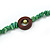 Long Forest Green Semiprecious Stone, Ceramic Bead, Brown Wood Ring Necklace - 106cm L - view 6