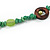 Long Forest Green Semiprecious Stone, Ceramic Bead, Brown Wood Ring Necklace - 106cm L - view 7