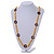 Long Yellow Semiprecious Stone, Ceramic Bead, Brown Wood Ring Necklace - 102cm L - view 2