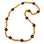 Long Yellow Semiprecious Stone, Ceramic Bead, Brown Wood Ring Necklace - 102cm L - view 3