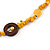 Long Yellow Semiprecious Stone, Ceramic Bead, Brown Wood Ring Necklace - 102cm L - view 4