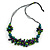 Teal/ Purple/ Lime Green Wood Bead Cluster Black Cotton Cord Necklace - 76cm L/ Adjustable