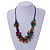 Multicoloured Wood Bead Cluster Black Cotton Cord Necklace - 76cm L/ Adjustable - view 2