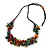 Multicoloured Wood Bead Cluster Black Cotton Cord Necklace - 76cm L/ Adjustable - view 3