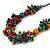 Multicoloured Wood Bead Cluster Black Cotton Cord Necklace - 76cm L/ Adjustable - view 4