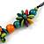 Multicoloured Wood Bead Cluster Black Cotton Cord Necklace - 76cm L/ Adjustable - view 5