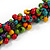 Multicoloured Wood Bead Cluster Black Cotton Cord Necklace - 76cm L/ Adjustable - view 6