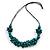 Teal Wood Bead Cluster Black Cotton Cord Necklace - 76cm L/ Adjustable