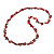 Long Red Glass Bead, Sea Shell with Silver Tone Chain Necklace - 140cm L - view 4