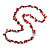 Long Red Glass Bead, Sea Shell with Silver Tone Chain Necklace - 140cm L