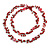 Long Red Glass Bead, Sea Shell with Silver Tone Chain Necklace - 140cm L - view 5