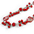 Long Red Glass Bead, Sea Shell with Silver Tone Chain Necklace - 140cm L - view 3