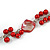 Long Red Glass Bead, Sea Shell with Silver Tone Chain Necklace - 140cm L - view 6