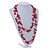 Long Red Glass Bead, Sea Shell with Silver Tone Chain Necklace - 140cm L - view 2