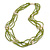 Multistrand Lime Green Glass Bead Cream Faux Pearl Long Necklace - 70cm L