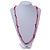 Pale Pink Resin Bead, Deep Pink Semiprecious Stone Long Necklace - 86cm L - view 2