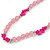 Pale Pink Resin Bead, Deep Pink Semiprecious Stone Long Necklace - 86cm L - view 4
