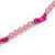 Pale Pink Resin Bead, Deep Pink Semiprecious Stone Long Necklace - 86cm L - view 5