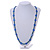 Stylish Blue Ceramic, Glass Bead with Gold Tone Metal Rings Long Necklace - 90cm L - view 2