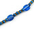 Stylish Blue Ceramic, Glass Bead with Gold Tone Metal Rings Long Necklace - 90cm L - view 4
