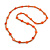Stylish Orange/ Peach Ceramic/Glass Bead with Gold Tone Metal Rings Long Necklace - 90cm L - view 3