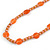 Stylish Orange/ Peach Ceramic/Glass Bead with Gold Tone Metal Rings Long Necklace - 90cm L - view 4